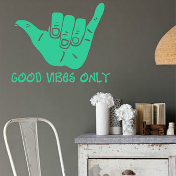 GOOD VIBES ONLY Vinyl Wall Decal Sticker Art Decor Bedroom Design Mural interior design beach ocean hawaii sea