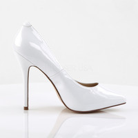 "Amuse 20 White Patent Pointy Toe Single sole Pump 5"" Heels"