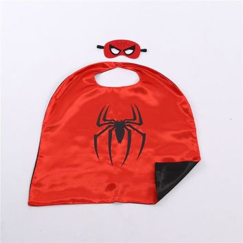 One set superhero cape with mask children cartoon anime cosplay costumes kids satin superman capes good for birthday party gifts