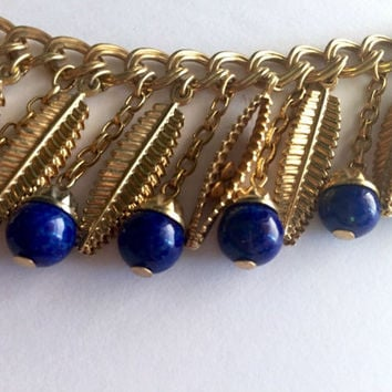 SALE - Rare Napier Demi Parure - faux lapis necklace set - 1960s designer necklace - high-end bijou - vintage jewelry set - clip-on earrings