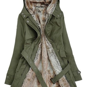 Army Green Hooded Fall Coat