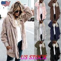 Women Girl Ladies Winter Fluffy Fur Long Sleeve Jacket Warm Outerwear Coat Hoody