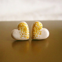 Heart stud earrings, Beige and gold post earrings