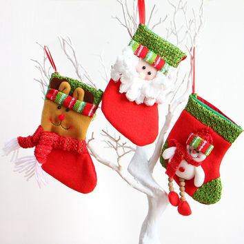 Christmas Fabric Stocking Sock Gifts Bags with Wooden Beads Tree Decoration Deer,Santa,Snowman Pattern Christmas  [9431841796]