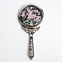 Mother of Pearl Princess Pink Plum Flower Design Round Stainless Steel Cosmetic Makeup Hand Mirror