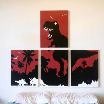 Dinosaur Paintings in Red, Black, & White 18 x 24 (Set of 4)