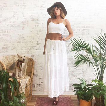 Vintage 1970's GYPSY White Indian Gauze Maxi Skirt || High Waisted || Boho Hippie Festival Skirt || Size Xs to S