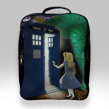 Backpack for Student - Alice in Wonderland on Tardis Box Bags