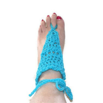 Women's Turquoise Crochet Barefoot Sandals by lanacooper on Etsy