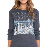 Wildfox Couture Cozy Cabin Long Sleeve in Blue