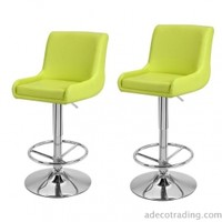 Adeco Height Adjustable Cozy Counter Bar Stools, Set of 2, Lime Green - CH0142-2
