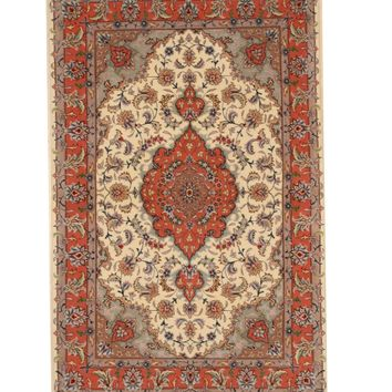EORC Hand-knotted Wool & Silk Ivory Traditional Oriental Tabriz Rug
