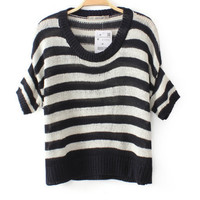 Round Neck Striped Mosaic Knit Shirt