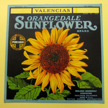 Sunflower California Oranges Vintage Fruit Crate Advertising Label Print Original 1930s Advertisement Art Lithograph, yellow blue & green
