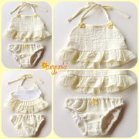 Baby Girl Swimsuit Infant Baby Bikini Summer Wear Girl Summer Suit Baby Beachwear Pale Yellow Bikini
