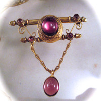 Vintage ORIGINAL by ROBERT BROOCH Pin Victorian Revival Edwardian Style Purple Glass Dangle Pin