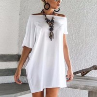 Women's White Asymmetrical Off the Shoulder Short Sleeve Causal Tunic Top/Mini Dress
