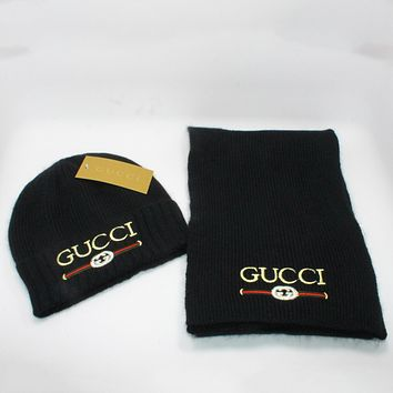 Gucci Women Men Fashion  Casual  Hat Cap Scarf  Set Two-Piece