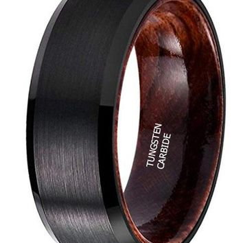 CERTIFIED 8MM Nature Black Tungsten Carbide Wedding Ring Inlay with Real Wood