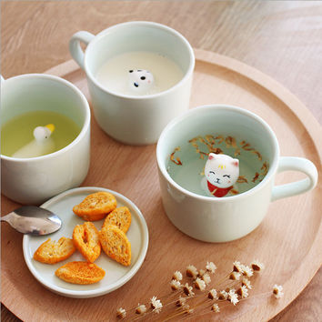 Creative small ceramic milk mug with animals cute cartoon three-dimensional coffee cup Heat-resistant Celadon cup nice gift