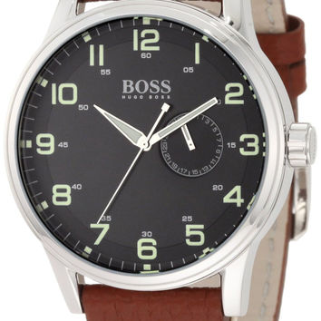 Hugo Boss Black Dial Stainless Steel Leather Quartz Men's Watch 1512723
