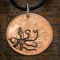 Kraken and Ship Coin Necklace, Octopus Pirate Jewelry by Namecoins