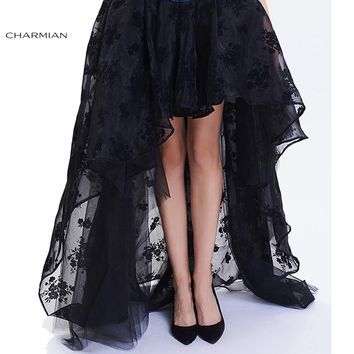 Charmian Women's Steampunk Gothic Vintage Skirt Floor Length Sexy Wedding Party High Low Black Floral Lace Skirt