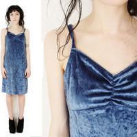 Vtg 90's Light Blue Crushed Velvet Spaghetti Strap Dress SZ S-Grunge Bandage Dress 1990's 1990s