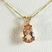 14K Yellow gold Pendant, Morganite Pendant with Chain
