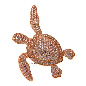 925 SILVER PINK ROSE GOLD PLATED BLING CZ 34MM HAWAIIAN SEA TURTLE SLIDER PENDANT