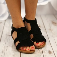 Wild Horses Fringe Sandals in Black