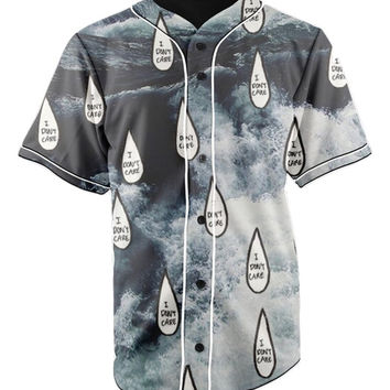 I Do Not Care Button Up Baseball Jersey