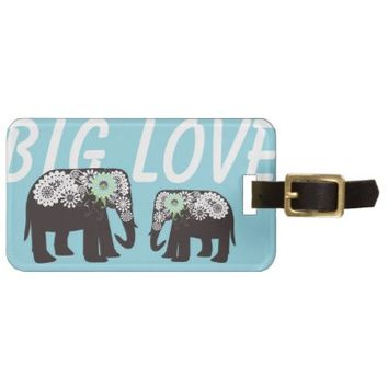 Big Love: Paisley Elephant Cute Travel Bag / Luggage Tags: Wild Animal Girly Design: Her Birthday, Mother's Day, or Baby Shower Gift Idea
