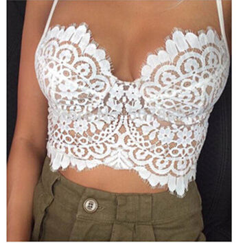 Bare-midriff Lace Sling Top