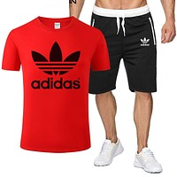 Adidas Summer Hot Sale Men Print T-Shirt Top Shorts Sport Set Two-Piece Red