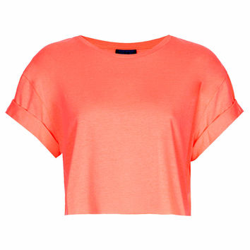 Roll Back Crop Tee - Fluro Coral
