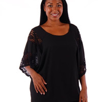 Plus Size Black and Lace Tunic