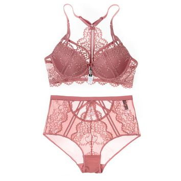 Floral Lace Front Closure Backless Push Up Bra Set Medium Padded Sexy Lace Mesh High-waist Panties Underwear Women Lingerie 2018