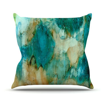 "Rosie Brown ""Waterfall"" Teal Blue Outdoor Throw Pillow"