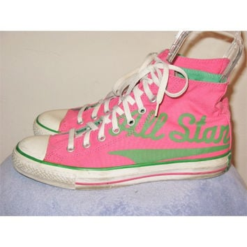 Converse Pink & Green All Star High Tops 10M /12W