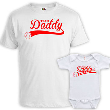 Father Son Matching Shirts Father And Baby Gift Dad And Daughter Shirt Dad Gifts Team Daddy And I'm On Daddy's Team Baby Bodysuit DN-641-643