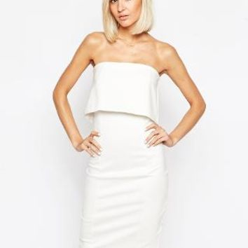 Lavish Alice | Lavish Alice Bandeau Body-Conscious Midi Dress with Cropped Detail at ASOS