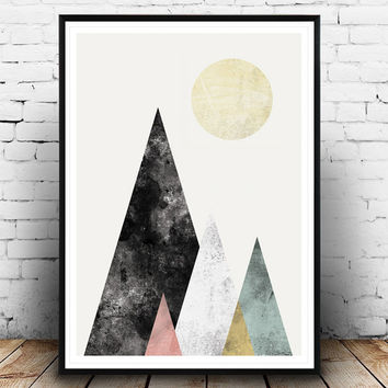 Geoemtric print, Watercolor print, Abstract poster, Mountains print, Scandinavian print, Home decor, Wall art, Watercolor art, Wall print