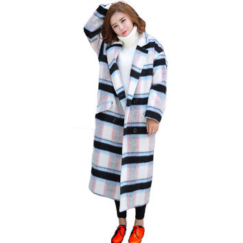 Oversized Wool Coat 2016 Winter Woman Warm Loose Wool Parkas abrigos mujer Turn-Down Collar Loose Plaid Jacket Cocoon Coat ss723