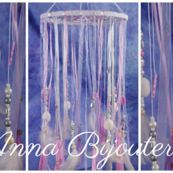 Original mobility Pink children room girls pink baby bed newborn baby cute nice gentle dreamcatcher handmade exclusive idea gift light pink