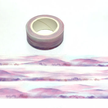 pink mountain purple scenes washi tape 7M pink hills nature hill scenes Masking tape purple lavender landscape scenes mountain sticker tape