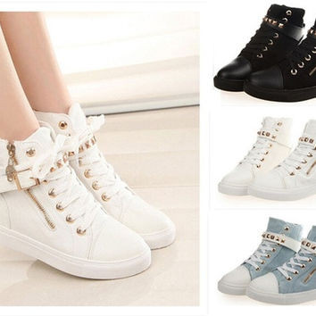 Casual Zipper Canvas Sport Buckle Rivet Sneakers shoelace anti-slip shoes Black Blue White Boots #ZFC15 = 1946019204