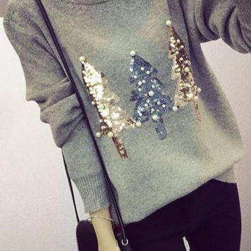 New Women Grey Sparkly Sequin Christmas Tree Print Beading Cute Slim Pullover Sweater Knit Jumper