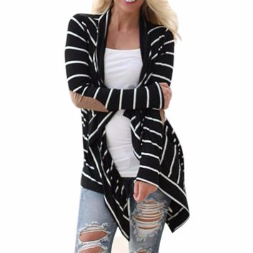 Women's Black/White Striped Open Long Sleeve Lightweight Knit Cardigan with Brown Faux Suede Arm Patches