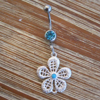 Belly Button Ring - Body Jewelry - Silver Flower with Lt Blue Gem Belly Button Ring